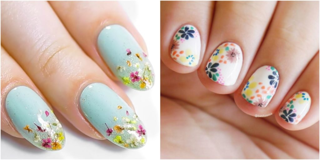 Get Glitter Floral Pattern Nail